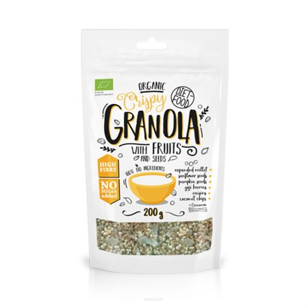 Ekologiška granola su vaisiais, be cukraus, Diet Food Granola Fruits (200g) | ifood.lt