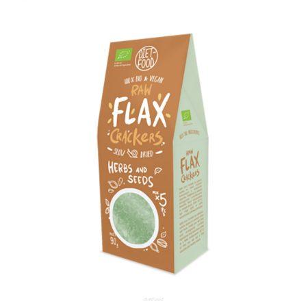 Ekologiški krekeriai su prieskoninėmis žolelėmis, Diet Food Flax Crackers (90g) | ifood.lt