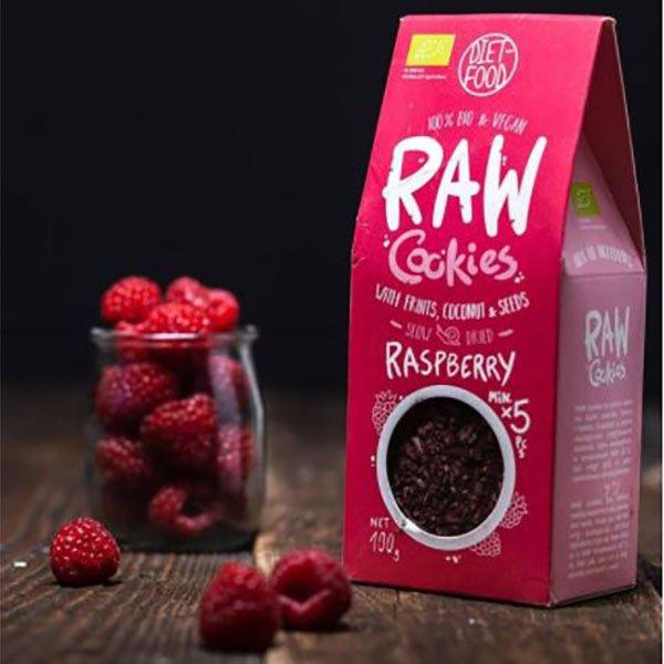 Ekologiški sausainiai su avietėmis, be cukraus, Diet Food Raw Cookies (100g) | ifood.lt
