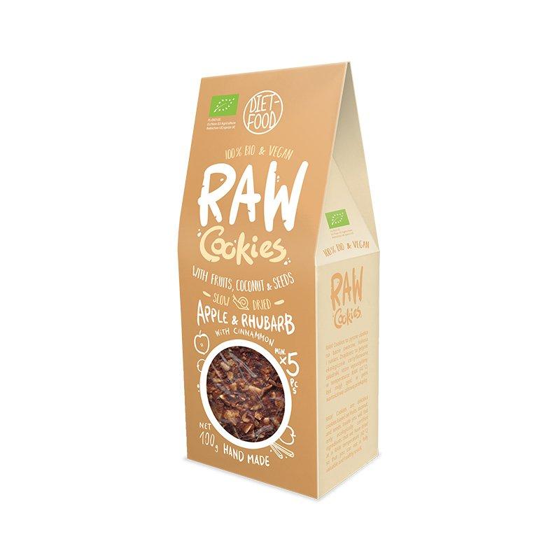 Ekologiški sausainiai su obuoliais ir rabarbarais, be cukraus, Diet Food Raw Cookies (100g)   ifood.lt