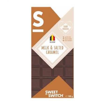Belgiškas pieniškas šokoladas su sūdyta karamele, be cukraus ir glitimo, Sweet Switch (100g) | ifood.lt