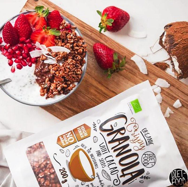 Ekologiška granola su kakava, be cukraus, Diet Food Granola Cacao (200g) | ifood.lt