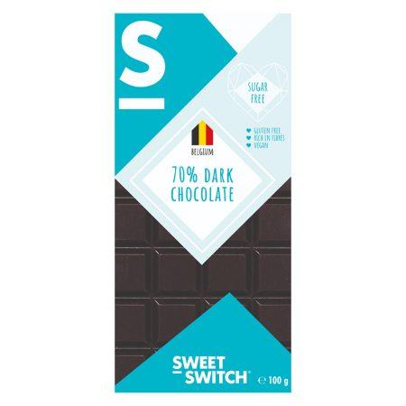 Juodasis šokoladas, be cukraus ir glitimo, Sweet Switch 70% Dark Chocolate (100g) | ifood.lt