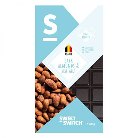 Juodasis šokoladas su migdolais, be cukraus ir glitimo, Sweet Switch Dark Almonds & Sea Salt (100g) | ifood.lt