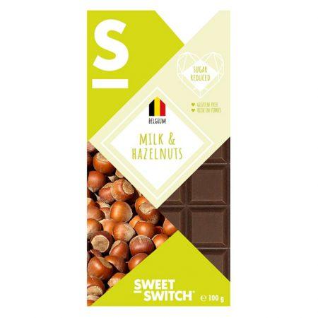 Pieniškas šokoladas su lazdynų riešutais, be cukraus ir glitimo, Sweet Switch Milk & Hazelnuts (100g) | ifood.lt