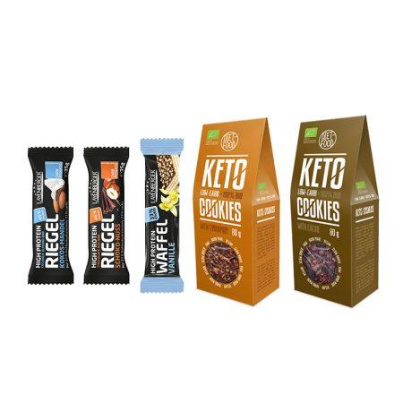 Baltyminių batonėlių ir ekologiškų Keto sausainių rinkinys, be cukraus, Sweet Mix (5vnt.) | ifood.lt
